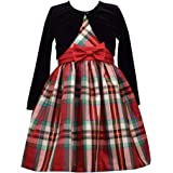Bonnie Jean Christmas Dress - Plaid with Black Cardigan for Toddler, Little and Big Girls