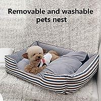 FidgetGear 1個ペット犬子犬猫の巣のベッド取り外し可能なソフト ピンクストライプM