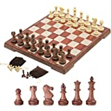 Kosun チェスセット マグネット式チェス 木目 折りたたみチェスボード 収納バッグ付き (S)