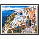 ARTomo【アトモ】パズル油絵『フレーム付き』数字 油絵 DIY 塗り絵 本格的な油絵が誰でも簡単に楽しく描ける 40x50cm【美しいギリシャの町】