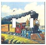 アートプレート®???特大スイッチプレート???CurrierIves : Express Train マルチカラー 12-D-oversize