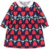 Toddler Girls Cotton Longsleeve Casual Dresses Baby Girls Lace Cartoon Swing Dress 1-8 T