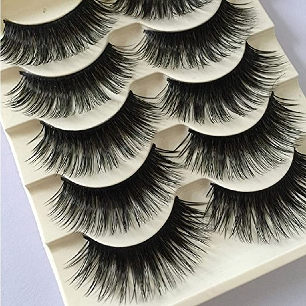 包帯純正寛大な5 Pairs Women Fashion Natural Long Fake Eye Lashes Handmade Thick False Eyelashes Black Makeup Tool New