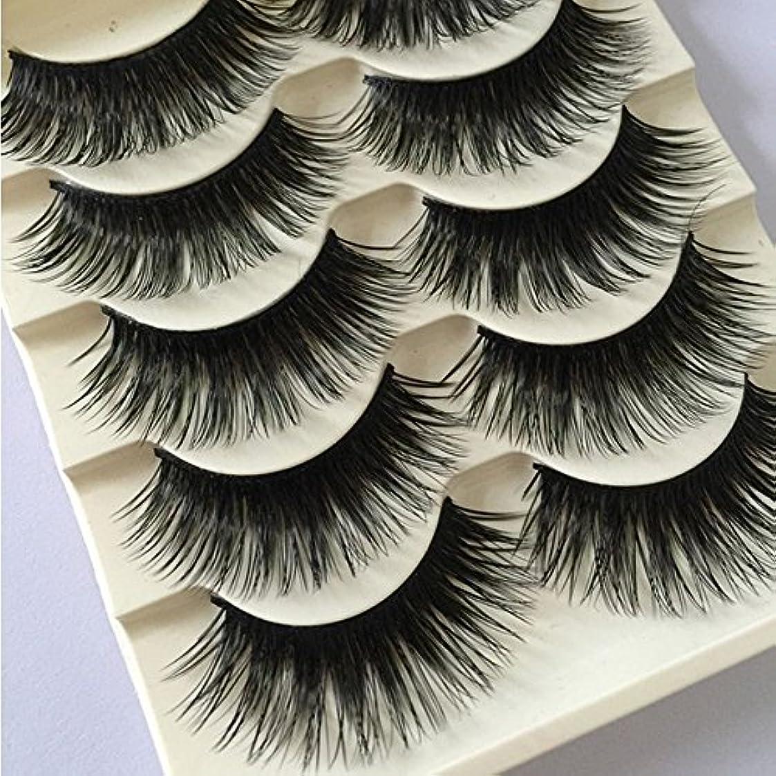 受粉者ぴったりキャリッジ5 Pairs Women Fashion Natural Long Fake Eye Lashes Handmade Thick False Eyelashes Black Makeup Tool New