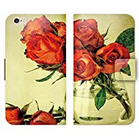 iphone5c ケース 手帳型 ストラップホール付 薔薇 バラ 赤 ローズ レトロ R000401_05