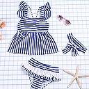 HYSENM 水着 ガールズ かわいい 子供 女の子 ストライプ ワンピース パンツあり ヘアバンド付き ビーチ 海遊び 夏 3-4歳から9-10歳まで L(110-120cm) ブルー