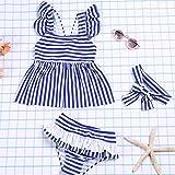 HYSENM水着ガールズかわいい子供女の子ストライプワンピースパンツありヘアバンド付きビーチ海遊び夏3-4歳から9-10歳まで2XL(130-140cm)ブルー