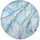 ATTX White Blue Marble Round Placemats for Dining Table, Circle Placemats, Place Mats for Kitchen Table Set for 6