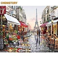 フレームレスヨーロッパ街ストリートdiy絵画by数字家の装飾手塗り抽象油絵用リビングルームアートワーク