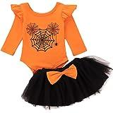 Newborn Baby Girl Halloween Clothes Skirts Set My 1st Halloween Pumpkin Romper Tutu Dress Headband 3Pcs Outfits