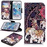 Lomogo iPhone6Sケース/iPhone6ケース 手帳型 耐衝撃 レザーケース 財布型 カードポケット スタンド機能 マグネット式 アイフォン6S/6 手帳型ケース カバー 人気 - LOBFE11237#4