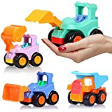 BEESTECH Toy Cars for 2,3,4,5 Year old Boys Girls Toddlers, Friction Powered Cars, Push and Go Construction Truck Toys, Pull