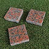 赤 御影石 本磨 板 ピンコロ 石材 (1個) ガーデニング 板石 舗石