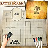 The Original Battle Grid Game Mat - 70cm x 60cm - Dungeons and Dragons - Dry Erase Square & Hex Grids - RPG Miniatures Map - DnD 5th Edition Table Top Dice Set - Wizard of the Coast Starter & Master