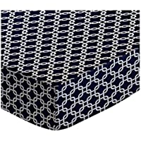 SheetWorld PC-W135 PC-W135 Fitted Portable / Mini Crib Sheet - Navy Links - Made In USA by sheetworld