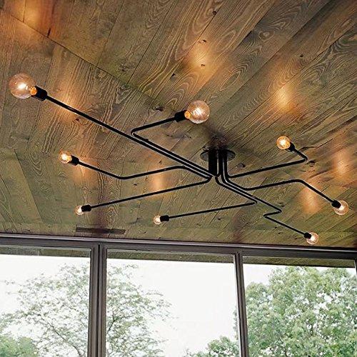 LINGKAI ペンダントライト 8灯 工業系 天井照明 照明 北欧 LED 電球対応 インダストリアル 照明器具 e26 e27 40W おしゃれ 人気 シンプル スチール リビング用 居間用 寝室 照明 ダイニング用 食卓用