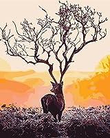 LoveTheFamily 数字油絵 数字キット塗り絵 手塗り DIY絵 デジタル油絵 40 x 50 cm ホーム オフィス装飾 -鹿