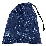 給食袋 巾着袋 青×恐竜柄 手作り ハンドメイド 入園 入学 通園 通学