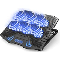 『2021新登場・強冷超静音冷却ファン』ノートパソコン冷却パッド 冷却台 6つ冷却ファン搭載 5段階高度調整可 風量調節…
