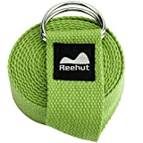 Reehut Fitness Exercise Yoga Strap (6ft, 8ft, 10ft) w/Adjustable D-Ring Buckle for Stretching, Flexibility and Physical Therapy
