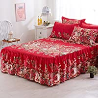 Powanfity_JP ベッドスカート ベッドスプレッド ダブル フリル付き 綿100% 花柄 伸縮ベッドラッフル  高品質 おしゃれ 雰囲気アップ 四季適用 150x200cm