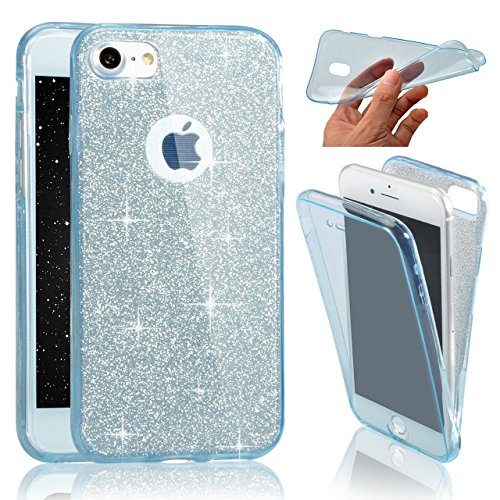 iPhone 7 / iPhone 8、370°のためのSevenPanda iPhone 8 4.7インチキラキラシリコンケース完全な保護光沢のあるBlingラインストーンTPUソフト保護ケースカバー透明クリスタルクリスタルフレキシブルバンパー超薄型薄型全身の両面タッチスクリーンケース携帯電話ケースシェルケース電話ケースカバー - ブルー