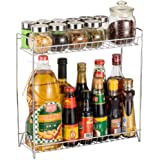 Laundry basket,Spice Racks Wire Basket Storage Container 2-Tier Standing Storage Organiser Spice Jars Bottle Shelf Holder Rac