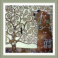 "Alonlineアート–Tree of Life Gustav Klimt Framedのコットンキャンバスホーム装飾壁アート博物館品質フレームをハングアップする準備フレーム 12""x12"" - 30x30cm (Framed Cotton Canvas) VF-KLM115-FCC0F24-1P1A-12-12"