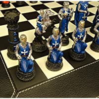 Medieval Times Crusades Warrior Red and Blue Chess Set W/ 18