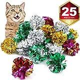 Bestsupplier 25 Pack Crinkle Balls Cat Toys - Original Mylar Crinkle Balls Cat Toys(Random Color)