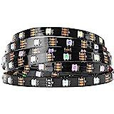 BTF-LIGHTING WS2812B RGB 5050SMD Individual Addressable 16.4FT 30Pixels/m 150Pixels Flexible Black PCB Full Color LED Pixel S