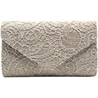 Cckuu Womens Floral Lace Envelope Clutch Handbag Shoulder Evening Shoulder Bag