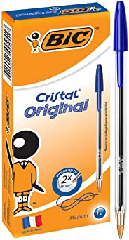 BIC Cristal Original Ball Pens Medium Point (1.0 mm) - Blue, Box of 12