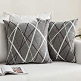MIULEE Decorative Throw Pillow Covers Woven Textured Chenille Cozy Modern Concise Soft Square Cushion Shams for Bedroom Sofa