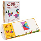Coogam Magnetic Travel Tangram Puzzles Book Game Tangrams Jigsaw Shapes Dissection with Solution for Kid Adult Traveler Chall