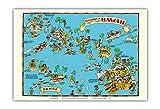 ハワイのテリトリーの地図 - アメリカ領サモア - 絵地図 - ビンテージ イラスト マップ によって作成された ルース・テイラー・ホワイト c.1935 - アートポスター - 33cm x 48cm