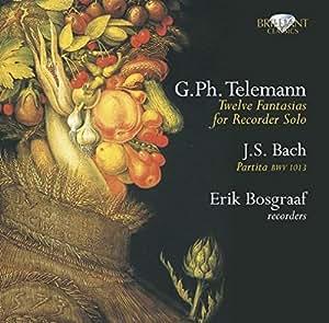 Amazon | テレマン:12の幻想曲 TWV 40:2-13/J.S.バッハ:パルティータ BWV.1013(G.Ph.Telemann:Twelve Fantasias for Recorder Solo/J.S.Bach:Partita BMW 1013 | テレマン, バッハ, エリック・ボスグラーフ(リコーダー) | 古典・バロック | 音楽