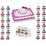 Hello Kitty Cake Topper Set Cupcake 24 Pieces Birthday Supplies Favors Goodies Plus Birthday Card - 26 Pieces