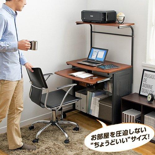 サンワダイレクト パソコンラック スリム W750 木目柄 パソコンデスク パソコンテーブル 100-002