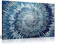 抽象ブルー壁アートシルバースパイラルSwirlキャンバス壁アート画像印刷 A1 76x51 cm (30x20in) 0615517262720