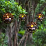 Solar Lights Outdoor Hanging Lanterns, ZHONGXIN Beaded Copper Wire Ball Candle Holder with Solar Tea Lights, Perfect for Home