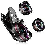 スマホ用カメラレンズ HD 4K クリップ式レンズ 広角レンズ 15倍マクロレンズ 198°魚眼レンズ 自撮り スマホレンズ iphone Android98%機種対応 簡単装着3in1