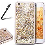 iPhone 6 ケース,iPhone 6S 流れる 液体 ケース,iPhone 6 カバー,SKYMARS 流れる フローティング ラグジュアリー グリッター ス バンパー ケース iPhone 6 / 6S カバー (Golden)
