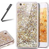 iPhone 4 ケース,iPhone 4S 流れる 液体 ケース,iPhone 4 カバー,SKYMARS 流れる フローティング ラグジュアリー グリッター ス バンパー ケース iPhone 4 / 4S カバー (Golden)