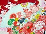 ちりめん布地・和布・古布・はぎれ◆一越ちりめん友禅花柄 扇に菊 (紅赤)3A(10cm)
