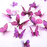 (Purple) - Butterfly Wall Decals, 24 Pcs 3D Butterfly Removable Mural Stickers Wall Stickers Decal Wall Decor for Home and Ro