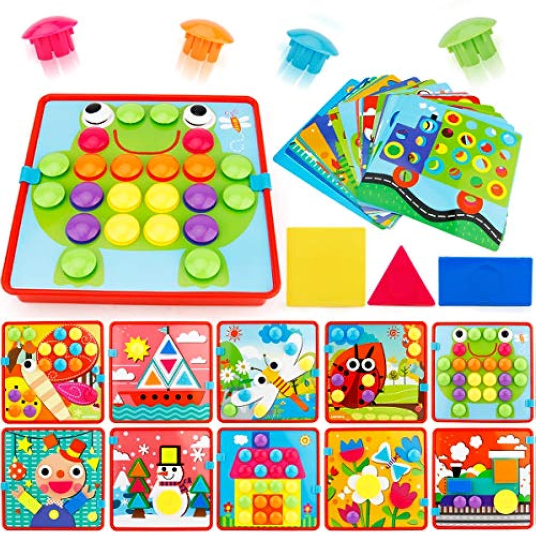 joygrowボタンアートカラーマッチングモザイクペグボードセット幼児用おもちゃカラー&ジオメトリ形状Cognitionスキル学習教育玩具男の子女の子( 72個ボタンと24テンプレート)