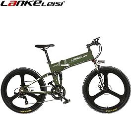 LANKELEISI XT750 - 26インチ折りたたみ式 電子自転車 48Vフルサスペンション7スピードリチウムE-バイクマウンテン - 電動自転車用モーター240ワット
