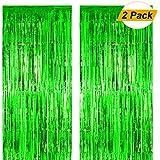 Fxozru メタリックホイルフリンジカーテン グリーンバックドロップ 2個 8×3フィート ベビーシャワー 写真ブース ジャングル 恐竜 ジュラ紀 森 ハワイアン パーティー 聖パトリックデー デコレーション