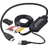 HDMI to RCA変換ケーブル HDMI to AVコンバータデジタル 3RCA/AV 変換ケーブル TV/HDTV/Xbox/PC/DVD/Blu-ray Player/PAL/NTSCテレビ - HDMI AVコンバータ HDMI RCA コ